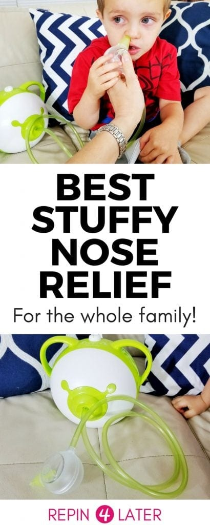 Want to find out how to get rid of your baby's stuffy nose? This stuffy nose remedy is so easy and it works for your baby and older kids! Find out what the best nasal aspirator on the market is and get stuff nose relief fast!