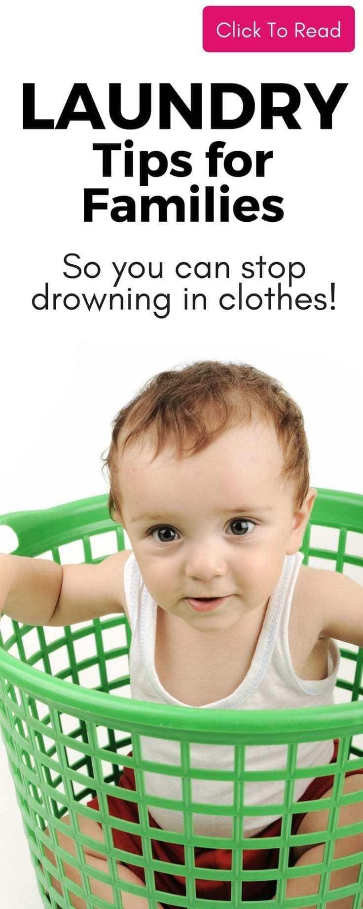 Easy laundry tips to help you wash clothes if you have a big family ! #laundry #laundrytips #washclothes #laundryday #drowninginlaundry